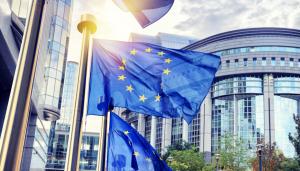 Drapeaux devant le parlement européen